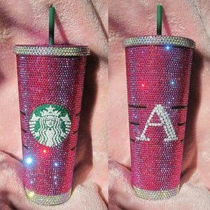 "Starbucks Venti 24 oz. Custom Bling Tumbler w/ ""A"""